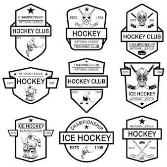 Набор эмблем хоккейного клуба. элемент дизайна для логотипа, этикетки, знака, футболки, плаката.