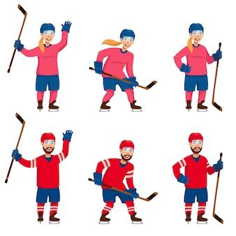 Набор хоккеистов в разных позах. мужские и женские персонажи в мультяшном стиле.