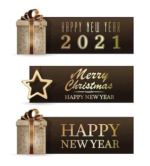 2021年のホリデーバナーのセット。メリークリスマスと新年あけましておめでとうございます。ベクトルイラスト