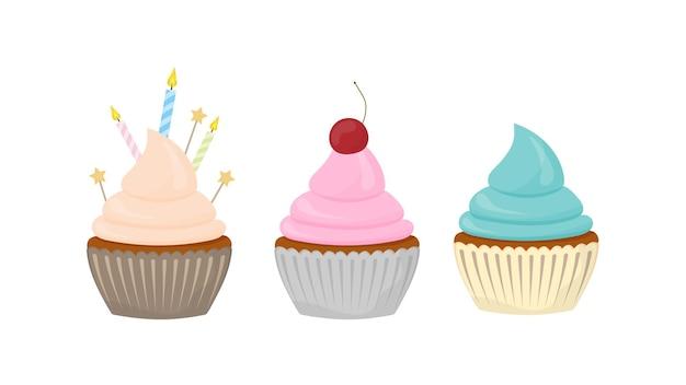 휴일 컵 케이크 세트입니다. 크림, 머핀, 축제 디저트, 제과가 있는 과자. 벡터 평면 스타일입니다.