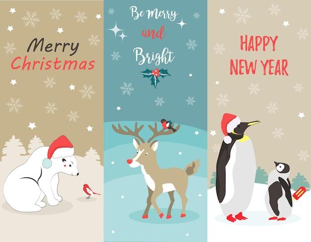 북극곰, 펭귄, 사슴, 새가 있는 휴일 인사말 카드 세트.