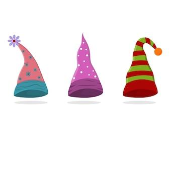 ノーム、孤立したイラストの休日の帽子のセット