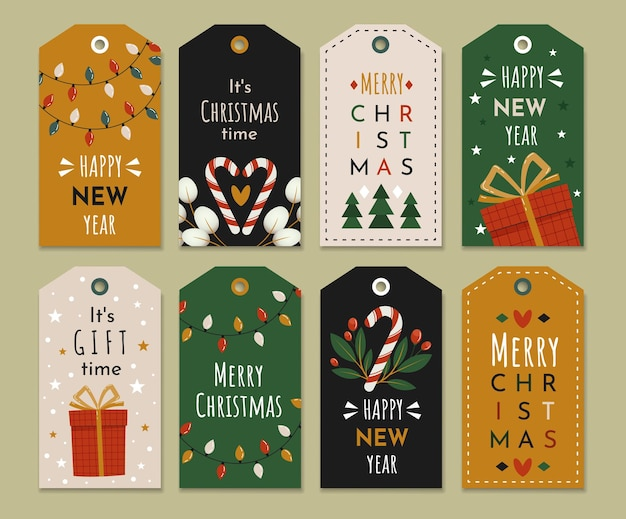 Набор праздничных этикеток с новогодним поздравлением.