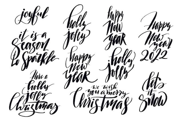 크리스마스 카드에 대한 휴일 레터링 세트