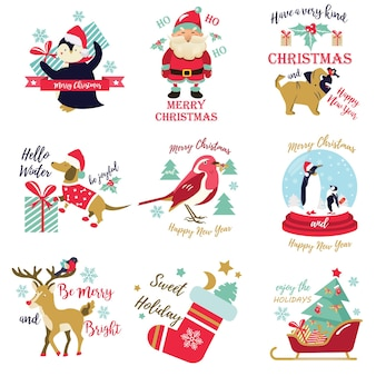 休日の写真、かわいい動物と装飾的な要素の画像のセット。