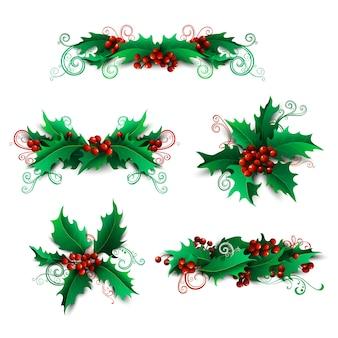 Набор элементов ягод падуба. рождественские украшения страницы и разделители на белом фоне. можно использовать для рождественских приглашений или поздравлений.