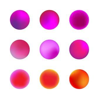 홀로그램 그라디언트 구의 집합입니다. 분홍색 또는 보라색 네온 원 그라디언트. 다채로운 둥근 버튼 흰색 배경에 고립입니다.