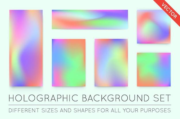 Набор голографических модных фонов. может использоваться для обложки, книги, печати, моды.