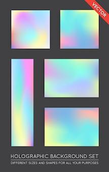 홀로그램 유행 배경 세트. 표지, 책, 인쇄, 패션에 사용할 수 있습니다.