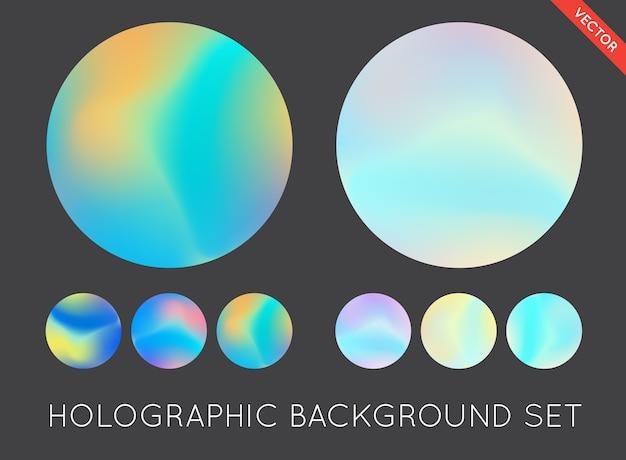 ホログラフィックトレンディな背景のセット。