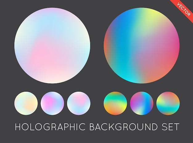 ホログラフィックトレンディな背景のセット