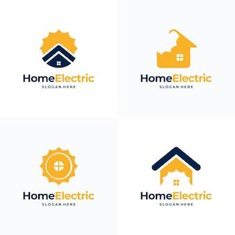 ホーム電気ロゴデザインのセット太陽エネルギーロゴデザインコンセプトベクトル