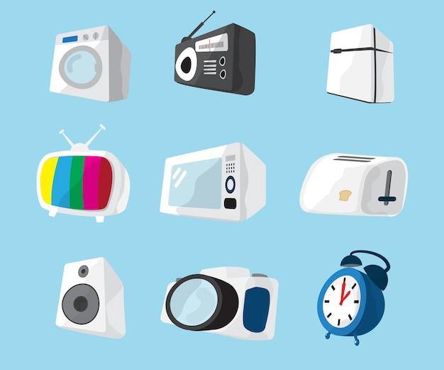 家電製品アイコンのベクトル図のセット
