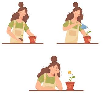 家庭菜園のセット。それが花に成長している間、女性は植物を気にかけています。家庭の趣味についての漫画イラスト。