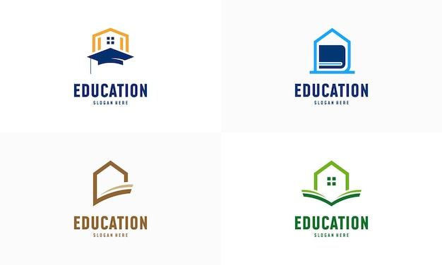 Набор логотипа домашнего обучения разрабатывает вектор концепции. шаблон логотипа домашнего образования, символ недвижимости