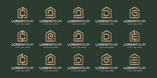 文字c、d、g、e、デザインテンプレートと組み合わせたホームロゴのセット。
