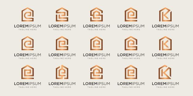 문자 e, k, s와 결합된 홈 로고 세트는 템플릿을 디자인합니다.