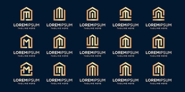 文字m、デザインテンプレートと組み合わせた家のロゴのセット。