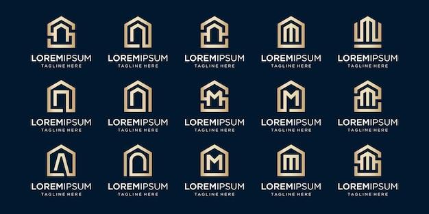 文字n、m、a、デザインテンプレートと組み合わせたホームロゴのセット。