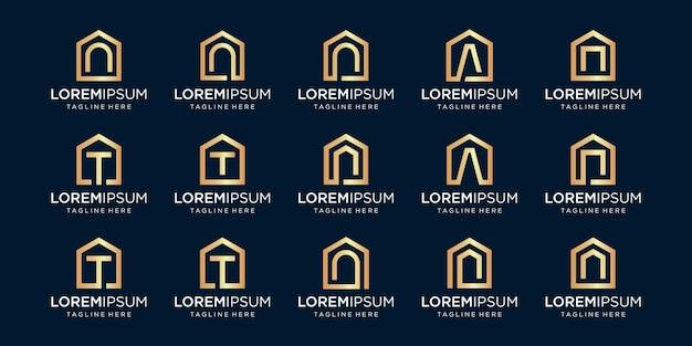文字n、t、a、デザインテンプレートと組み合わせたホームロゴのセット。