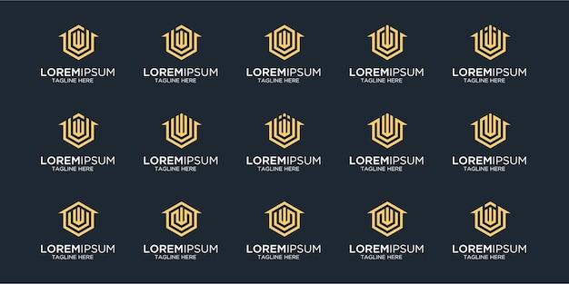 文字wデザインテンプレートと組み合わせたホームロゴのセット