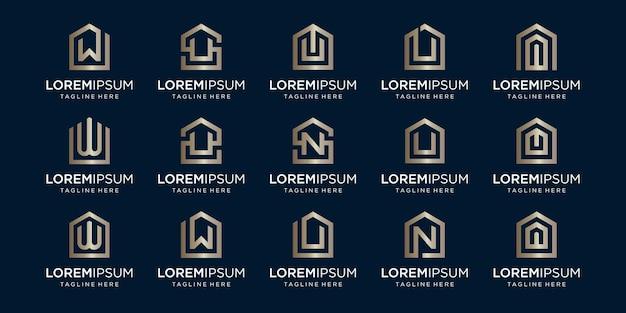 Набор домашнего логотипа в сочетании с буквой w, u, n, дизайн шаблона.