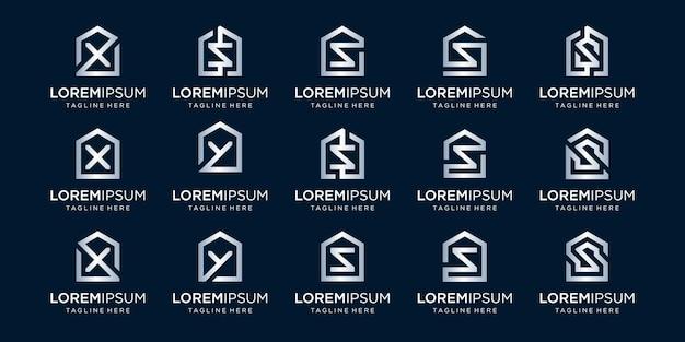 문자 x, s, y와 결합된 홈 로고 세트는 템플릿을 디자인합니다.