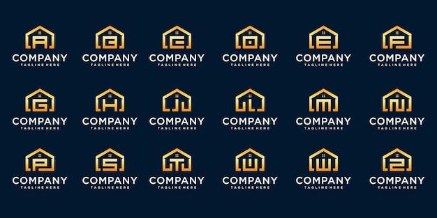 文字と組み合わせた家のロゴのセット