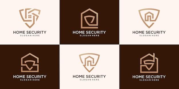 홈 보안 로고 벡터 및 홈 보안 세트