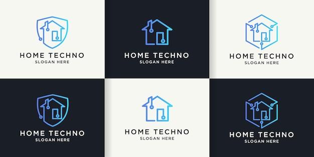 회로 라인 개념이 있는 홈 기술 로고 세트