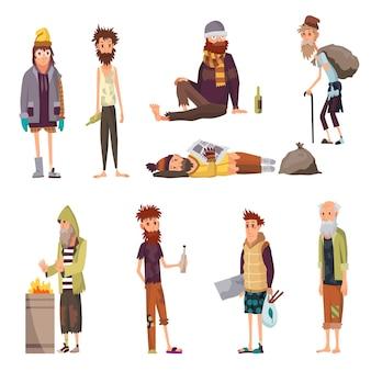 Набор бездомных. грустные безработные люди в грязной одежде, просящие денег и нуждающиеся в помощи. безработные мужчины, нуждающиеся в помощи. набор символов людей. нищие бомжи или бродячие бомжи.