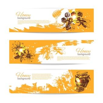 Набор медовых баннеров с рисованной иллюстрацией эскиза