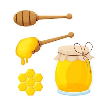 만화 스타일의 꿀 국자 나무 숟가락과 유리 항아리 세트