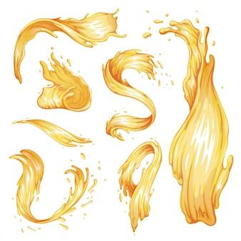 蜂蜜のしぶきと波のセット。さまざまな形のキャラメルストリーム。