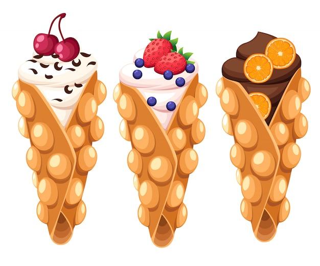 체리 딸기 오렌지와 흰색 배경 웹 사이트 페이지 및 모바일 앱에 휘핑 또는 초콜릿 크림 일러스트와 함께 홍콩 와플 세트