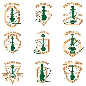 水ギセルラベルのセット。ロゴ、エンブレム、印刷、バッジ、ポスターの要素。画像