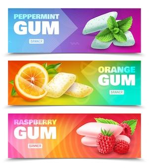 Набор горизонтальных рекламных баннеров реалистичной жевательной резинки с различным вкусом, изолированных на красочные