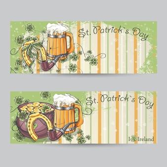 馬蹄形と金のポットと聖パトリックの日の水平バナーのセット