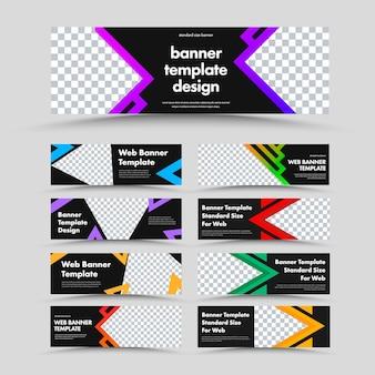 写真とテキスト、色付きの三角形、および矢印の場所と水平方向の黒いウェブバナーのセット。広告ビジネスのためのデザインテンプレート。