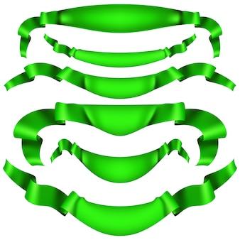 Набор горизонтальных зеленых баннеров.
