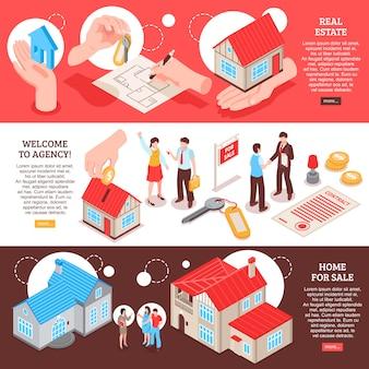 販売のための家と水平等尺性バナーテンプレート不動産代理店のセット