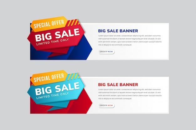 큰 판매 배너 서식 파일 디자인의 가로 레이아웃의 집합입니다. 상단에 특별 제공 요소.