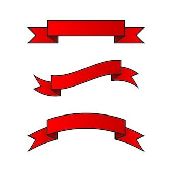 투명 한 배경에 가로 빨간 리본의 집합입니다. 벡터 일러스트 레이 션. eps10