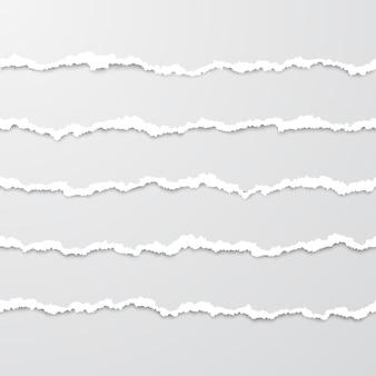 影と水平のシームレスな引き裂かれた紙のストライプのセット
