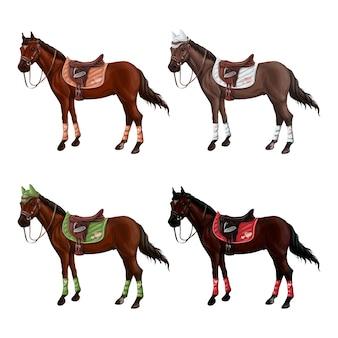 さまざまな弾薬の異なるスーツの馬のセット