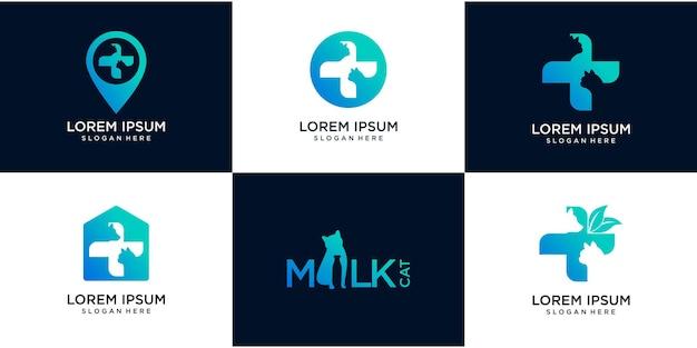 Набор логотипа домашних животных больницы, логотипа карты и отрицательного космического питомца и вектора здоровья