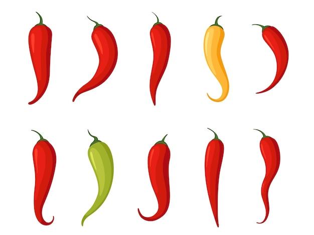 Набор острых перцев чили разных цветов и форм. пряный пищевой ингредиент. отдельный на белом фоне.