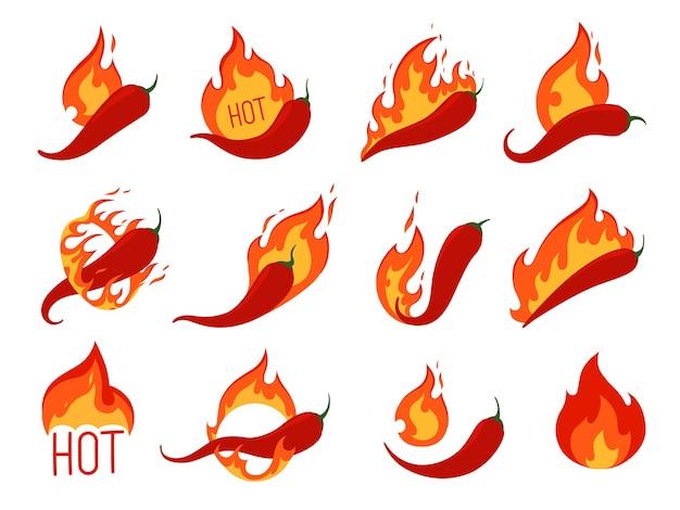 불에 핫 칠리 페퍼스의 집합입니다. 매운 고추 음식에 대한 아이콘. 흰색 배경에 고립.