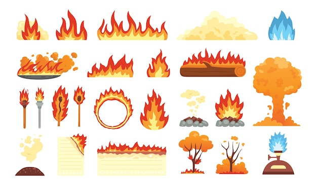 熱い炎の要素のセット。漫画のスタイルの火炎アイコンのコレクション。