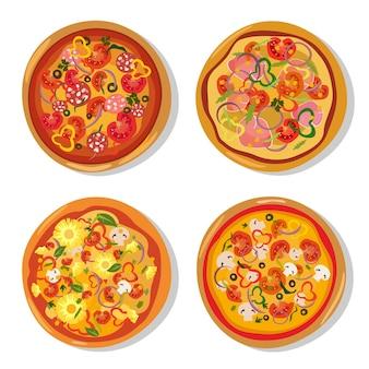 플랫 스타일의 뜨거운 피자 세트